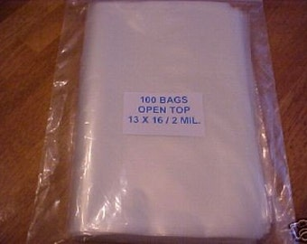 100 Clear Plastic 2 Mil 13x16 Poly Bags 13 x 16 Open Top