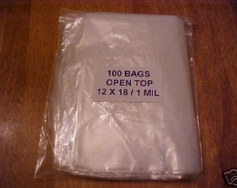 100 Clear Plastic 1 Mil 12x18 Poly Bags 12 x 18 Open Top