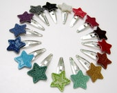 Vinyl Star Barrettes, Pair of Tiny Hair Clips, assorted sparkly colors