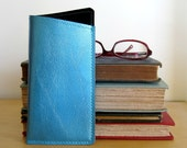 Vinyl Eyeglasses Case, turquoise blue metallic vinyl / jet black ultrasuede, size small