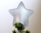 Metallic Vinyl Star Tree Topper Decoration in starry silver with silver stitching