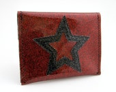 Vinyl Wallet, snap envelope style with superstar design, deep red sparkle vinyl / grey on black toile oilcloth, size small