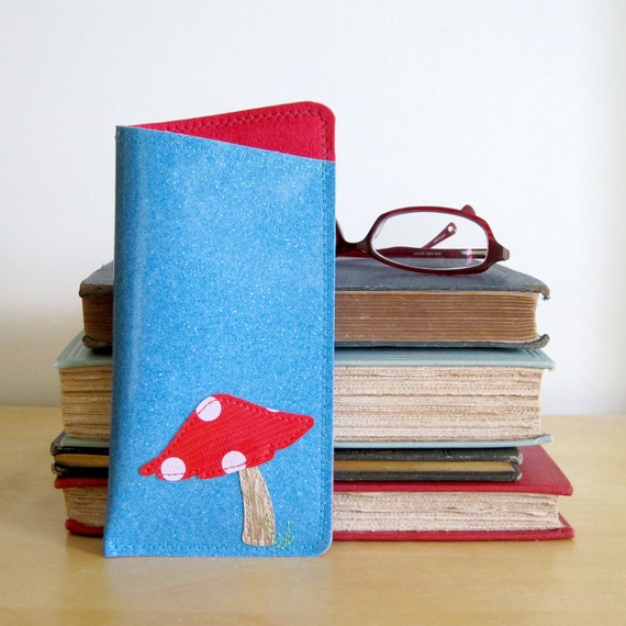 Vinyl Eyeglass Case with Toadstool Design, turquoise blue sparkle vinyl / scoundrel red ultrasuede, size SMALL