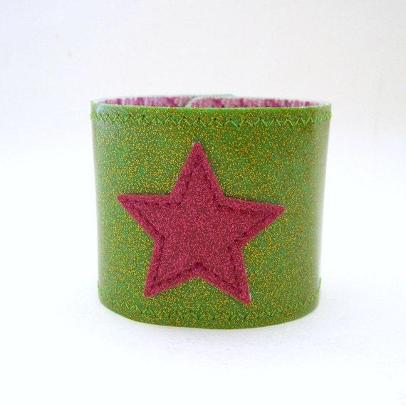 Vinyl Cuff Bracelet with Star Design, citron green sparkle vinyl / pink fishnet floral oilcloth, size small
