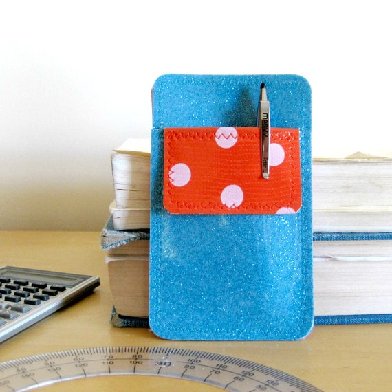 Mini Nerd Power Vinyl Pocket Protector and Business Card Holder in turquoise blue sparkle vinyl / white on orange polka dot oilcloth