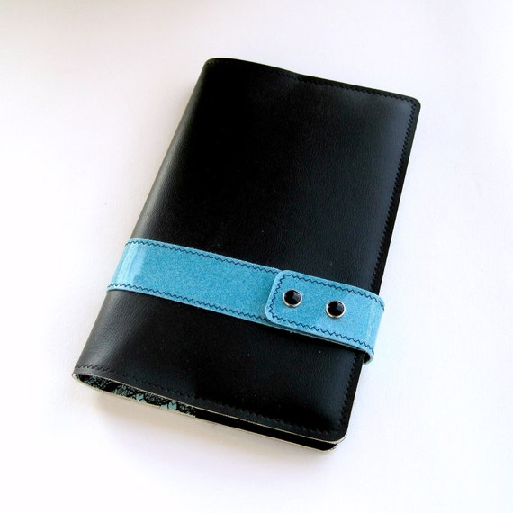 Vinyl Moleskine Cover with Racing Stripe, black and turquoise blue vinyl / fishnet floral oilcloth, fits LARGE CLASSIC NOTEBOOK