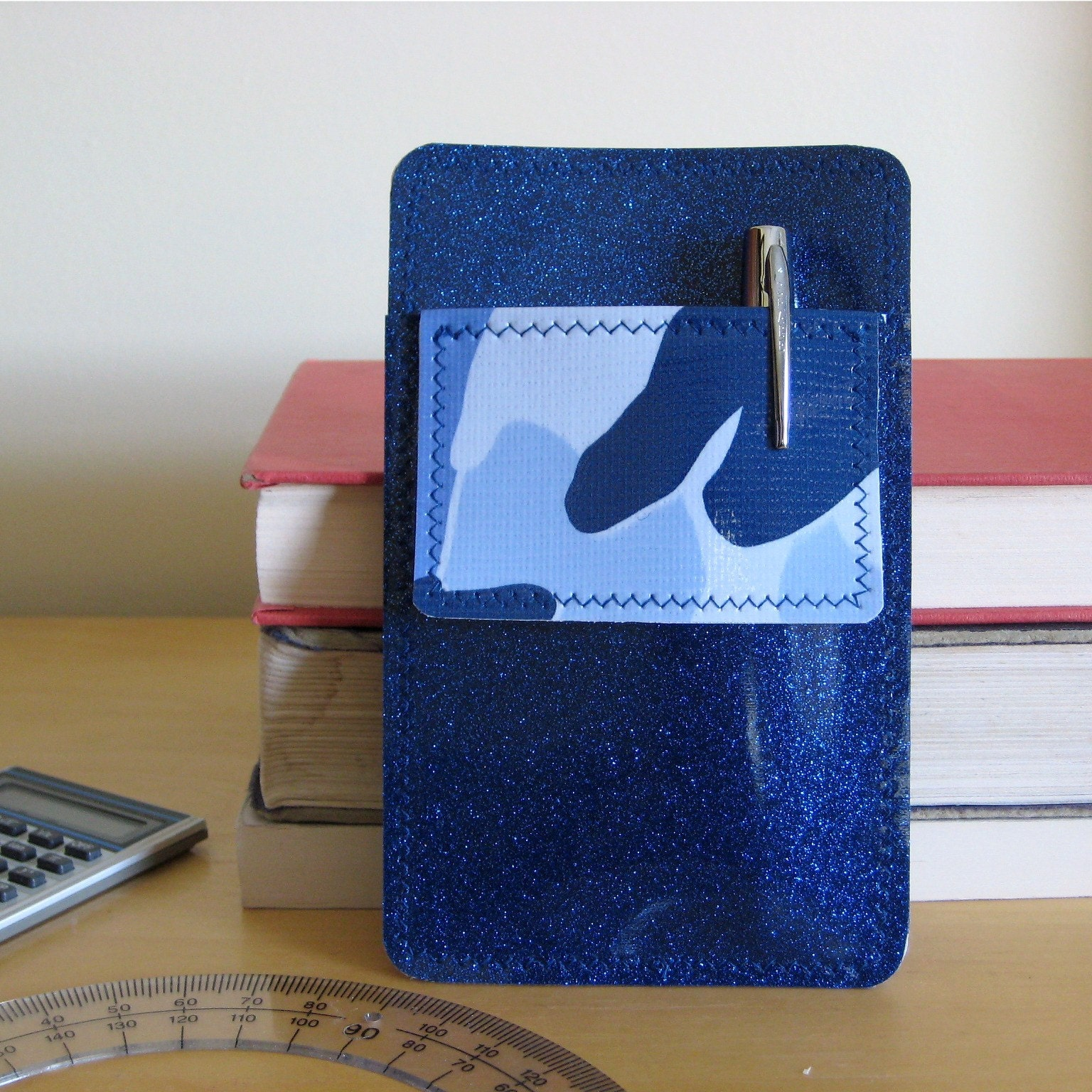 Nerd Power Pocket Protector In Royal Blue Sparkle By