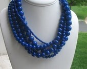 Chunky Blue Necklace Royal Statement 5 Strand, Out of the Blue