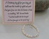 Baptismal Bracelet, Christening Bracelet, Baby Bracelet, Religious Jewelry, Baby Gift, Girls Pearl and Crystal Sterling Silver, Christening