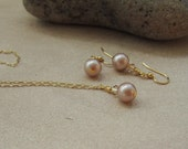 Champagne Necklace Set Bridesmaids Gold Almond Pearl and Gold Crystal, Simply Golden
