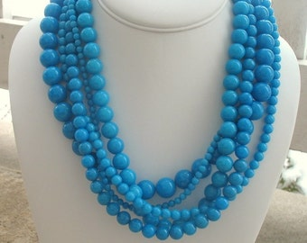 Chunky Turquoise Necklace, Gifts for Her, Bridesmaids, Statement Necklace, Blue Necklace, Tiffany Blue, Come Away With Me