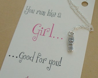 Half Marathon Necklace with Sneaker 13.1, Shoe In