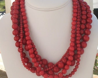 Chunky Red Necklace, Red Jewelry, Red Statement Necklace, Multistrand Red Necklace, Bold Red  Necklace, Large Red Necklace,Heartbreaker