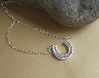 Horseshoe Necklace, Rhinestone Necklace, Lucky Gifts, Gifts for Her, Gift for Colts fan, Luck Jewelry, Horsing Around