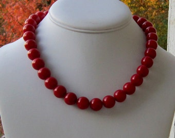 Red Necklace, Red Jewelry, Chunky Red Necklace, Red Statement Necklace, Gifts for Her, Bridesmaids Gifts,Red Hot