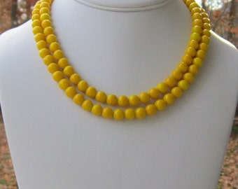 Yellow Necklace, Yellow Jewelry, Bright Yellow Double Strand Necklace, Bridesmaids Jewelry, Yellow Bridesmaids Jewelry, Walking on Sunshine