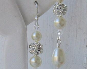 Bridal Earrings, Pearl Earrings, Fireball Dangles, Bridal Jewelry, Bridal Earrings, Brides Earrings, Wedding Jewelry,Drops of Love