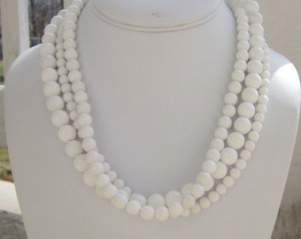 Chunky White Necklace Triple Strand Statement, Whiteout