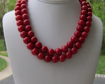 Chunky Red Necklace 2 Strand Statement, Seeing Red