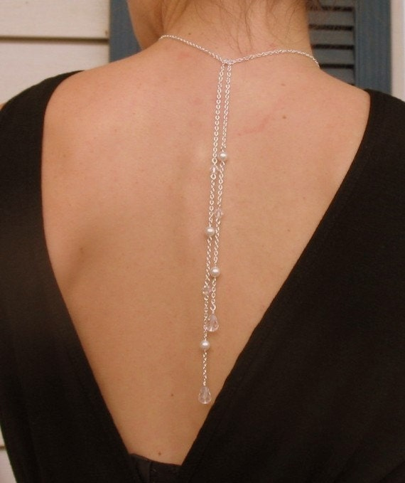 Backdrop necklace tie lariat necklace back jewelry bridal for Back necklace for wedding dress