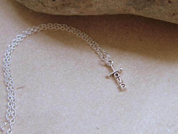 Cross Necklace, LOVE Necklace, Religious Gift, Religious Jewelry, Confirmation Gift, Gifts for Her, Womans Cross Necklace, Sterling Silver