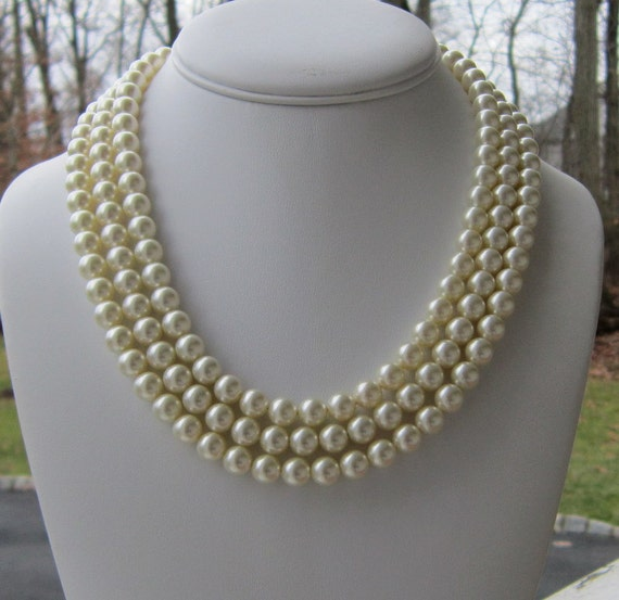 Chunky Pearl Necklace Bridal Triple Strand, Amandas Indecision