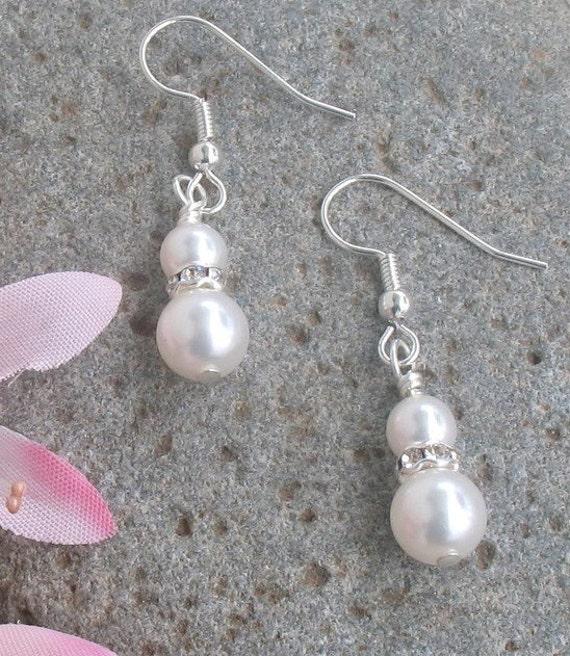 Pearl Earrings, Bridal Earrings, Rhinestone, Bridal Jewlery, Bridesmaids Jewelry, Bridesmaids Gifts, Wedding Jewelry,, Breakfast at Tiffanys