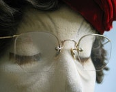 Antique Rimless 12 K GF Eyeglass Frames Artcraft Victorian Styling on Bridge