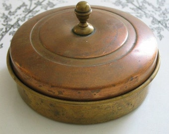 Copper And Brass 3 Section Covered Candy Dish Or Stash Container