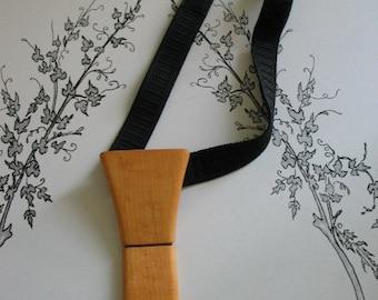 Very Cool Wood Treen Necktie Tie Velcro Closure Adjustable Unique
