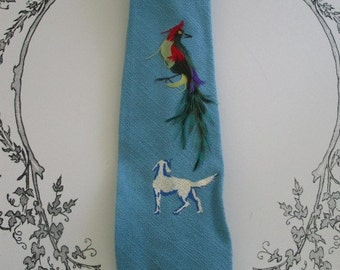 Feather Bird and Dog Vintage Mens Tie Very Cool and Bright Gorgeous Colors