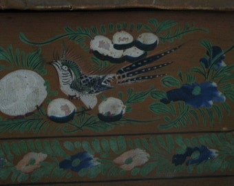 Camphor Wood Antique Chest Gorgeous Blue Flowers Birds Kwang-Tung Yut Wo Canton