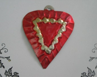 Vintage Tin Heart Ornament Mexico 1970s New Old Stock