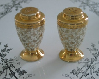 Gilded Gold and White Lace Floral Patterned Salt and Pepper Shaker Set
