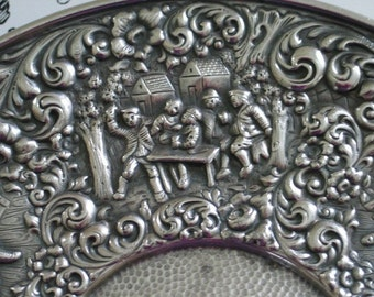 Gorgeous Repousse Scenes Surround Lovely Barbour Silver Plate Tray Signed Numbered