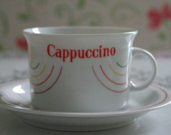Cappuccino Anyone... Rainbow Wawel Poland Cappuccino Cup and Saucer Very Nice