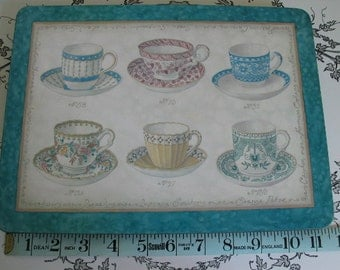Tea Time Vintage Hardboard Placemats 6 Lovely Tea Cups Displayed Throughout 6 Mats