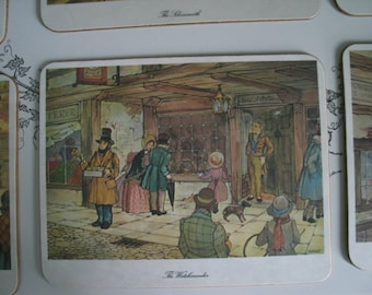 English Scene Placemats Laminate 6 in Original Box Kelsey of Stonehouse Made in England