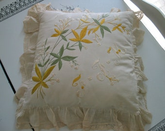 Antique Victorian Style Bridal Wedding or Ring Bearer Pillow Monogram F F M Very Sweet Piece