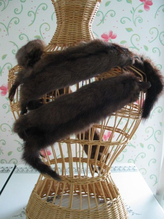 Elegant Mink Wrap or Mink Stole 5 Pelts With Faces And Face Clip