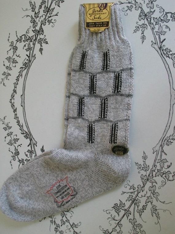 Jerks Vintage Mens Cotton Socks 10 1/2 1940s Jerk Them On They Stay Up