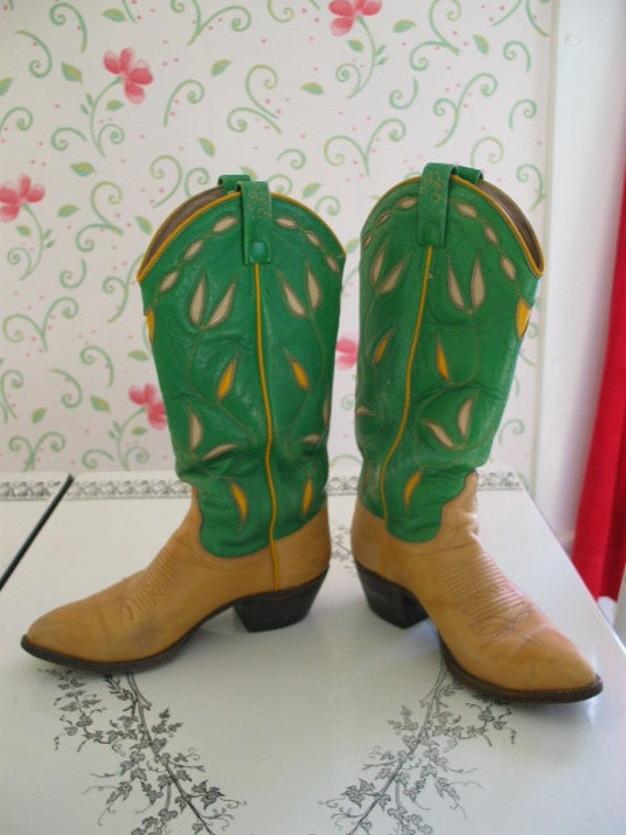 RESERVED FOR SHEILA Awesome Ralph Lauren Western Lime Green and Yellow Floral Patterned Cowboy Boots Gorgeous