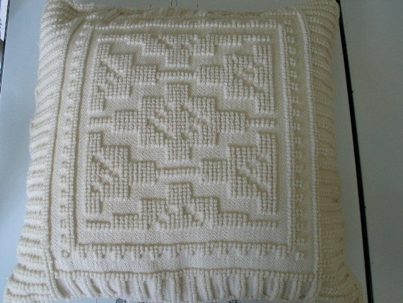 Reserved for Victoria Woven Wool Down Fill Vintage Pillow From Greece Awesome Pattern