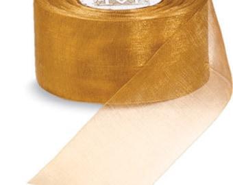 "Midori Organdy Ribbon 3/4"" Color Wheat"