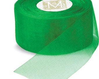 "Midori Organdy Ribbon 3/4"" Color Emerald"