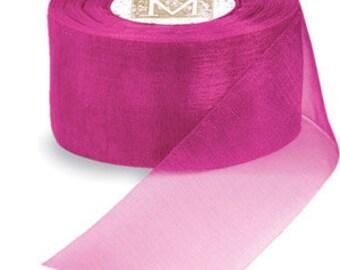 """Midori Organdy Ribbon 3/4"""" Color Magenta"""