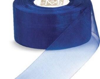 3/4 inch wide piece of Midori Organdy Ribbon color Lapis