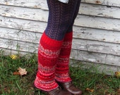 Fair Isle Red Sweater Lambswool Leg Warmers