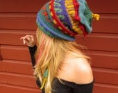 Bohemian Gnome Princess Fleece Lined Fair Isle Layers Hand Knit Hat By MountainGirlClothing