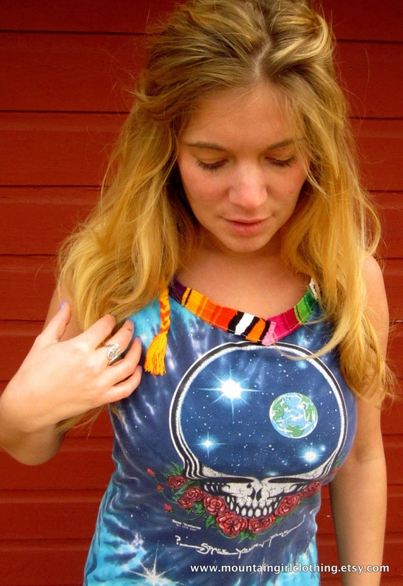 Viintage Upcycled Tie Dye Space Your Face Grateful Dead Tshirt Woven Trim Scoop Back Tank Top Size Small By MountainGirlClothing